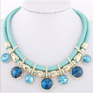 Jewelry - Blue Crystal charm choker necklace NEW with tags
