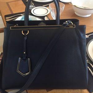 Fendi Handbags - 2Jours Large Textured Leather Black Tote Bag