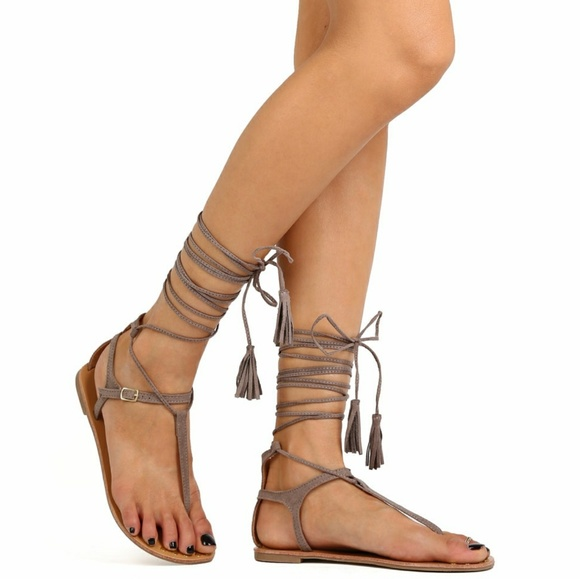 cb2ffd3980d Qupid Lace Up Sandals - taupe