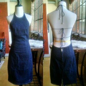 Sergio Valente Dresses & Skirts - Sexy, Strappy Low Cut Back Stretchy Denim Dress, M