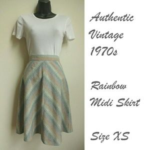 Vintage Dresses & Skirts - Vintage Womens Rainbow Midi Skirt Wool Blend XS 24