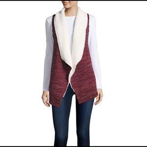 Wine colored Sleeveless Fleece Vest