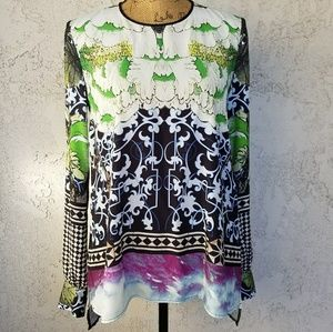 Clover Canyon Tops - 196) Clover Canyon l/s print blouse