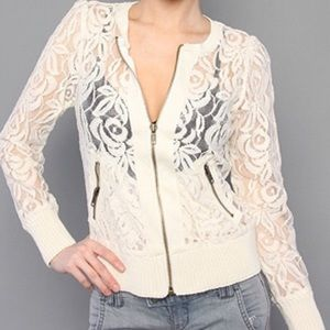 S FREE PEOPLE LACE BOMBER JACKET CARDIGAN
