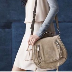 Rebecca Minkoff Suede vanity saddle bag sandstone