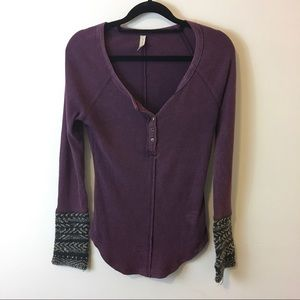 Free People Tops - Free People Gypsy Violet Alpine Cuff Thermal Shirt