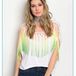 Tops - ✨CHARITY ITEM✨White Dolman Sleeve Fringing Top