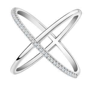 X Ring with CZ Accent