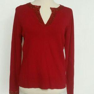 Emma james large red rhinestone vneck blouse