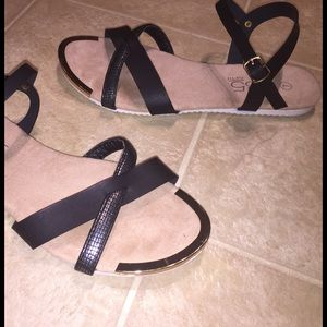 385 Fifth Shoes - Black/grey, gold-tipped ankle strap sandals