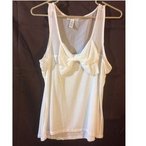 Ambiance Apparel Tops - White Bow Tank Top