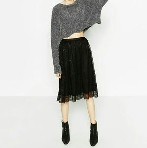 NWT Zara lace midi skirt M black 7901