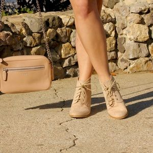 Shoes - Nude Lace Up Booties!
