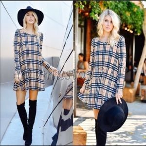 ValMarie Boutique Dresses & Skirts - Plaid Taupe Dress with Elbow Patches