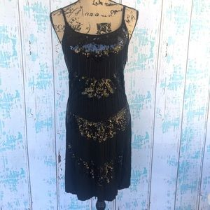Christina Love Dresses & Skirts - Christina Love black beaded fringe & sequin dress