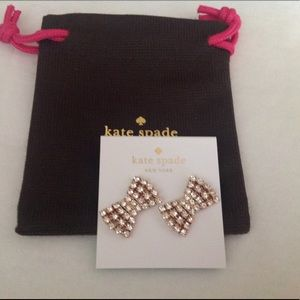 kate spade Jewelry - Kate Spade Sparkling Bow Earrings