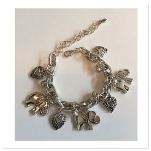 Elephant and Romantic Hearts Bracelet