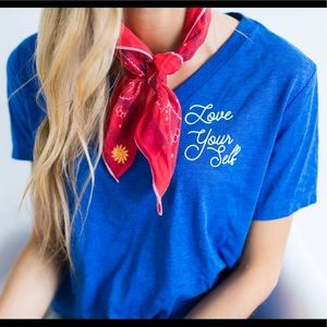 Friday Apparel Tops - Love Yourself Shirt in Royal Blue
