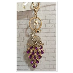 Purple Peacock Purse Charm