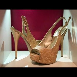 Qupid Shoes - Gold Sparkly Heels
