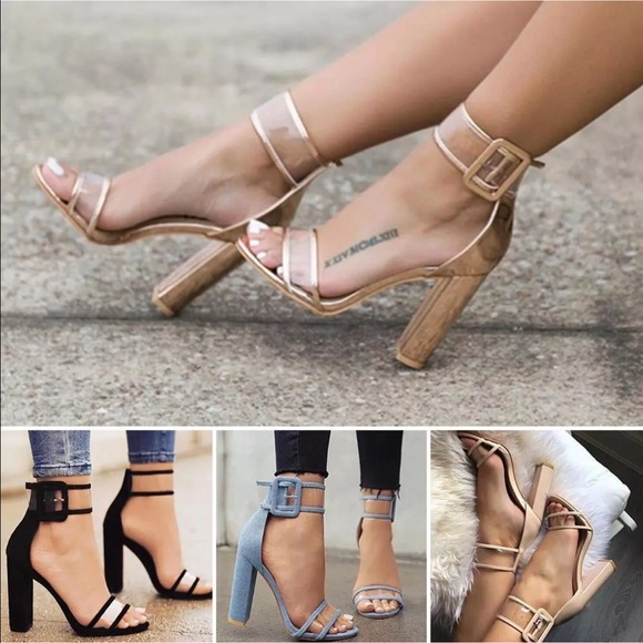76848242642 Metallic Rose Gold Clear Block Heel Sandals