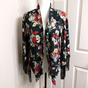 Fun & Flirt Tops - NWOT Open Kimono Top with Fringe Bell Sleeves