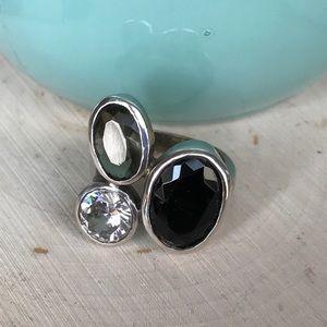 Vintage Jewelry - Vintage silver quartz onyx crystal statement ring