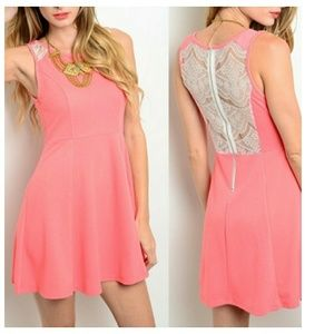 WILA Dresses & Skirts - Lace-back Dress, Pink - Coral