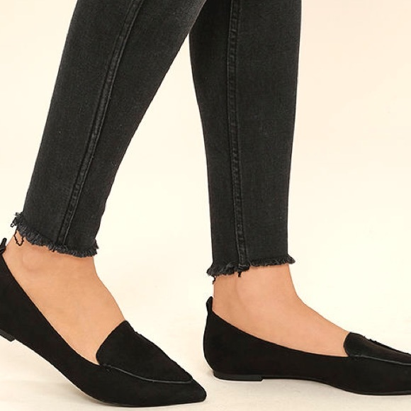 07d163cf301 Bamboo Emmy Black Suede Pointed Loafers