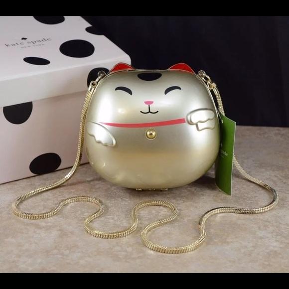 2621273b7 Kate Spade Bags | Nwt Good Fortune Cat Clutch Gold | Poshmark