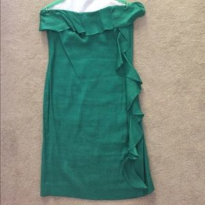Banana Republic Green Strapless Frill Dress