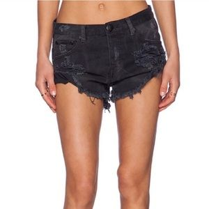 One Teaspoon Pants - One Teaspoon bandits RARE SUEDE LEATHER BLACK