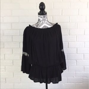Blossom Tops - BNWT Black Crepe Peasant Top with Lace Sleeves
