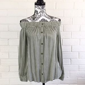 Blossom Tops - BNWT Off the Shoulder Peasant Blouse Olive/white