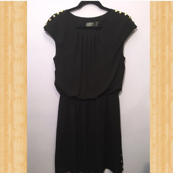 Guess Dresses Black Dress With Gold Buttons On Shoulders Poshmark