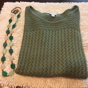 New York & Company Sweaters - New York and company sage green crochet sweater