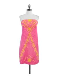Lilly Pulitzer- Pink & Yellow Embroidered Cotton Strapless Dress Sz 8