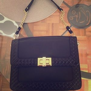 Rebecca minkoff black & gold shoulder bag / clutch