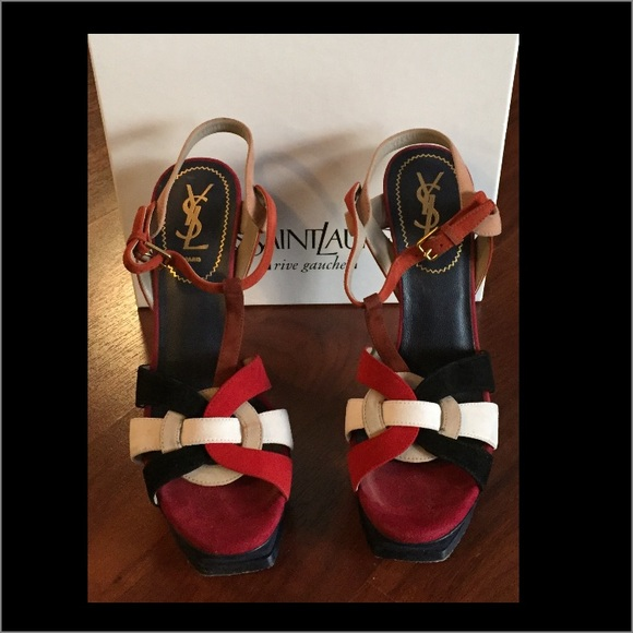 6c69b381c94 Yves Saint Laurent Shoes | Ysl Tribute Suede Multicolor Platform ...