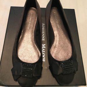 Adrienne Maloof Shoes - Adrienne Maloof Black Satin Ballet Flats