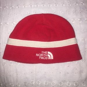 Red & White North Face Beanie