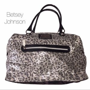 Betsey Johnson Silver Leopard Sequin Luggage Bag