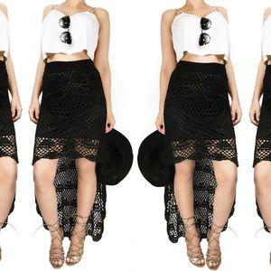 Anthropologie Dresses & Skirts - Anthropologie umgee black crochet high low skirt