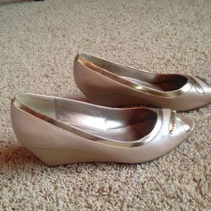 62363a243d Charles & Keith Shoes - Charles & Keith Leather Peep Toe Wedge Heels Pearl