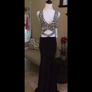 Jovani Dresses & Skirts - Jovani Black and Silver Rhinestone Prom Dress Sz 2