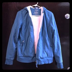 L.L.Bean zip up hoodie w/ fleece lining sz S