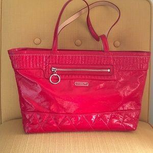 Coach Handbags - Coach red patent Poppy tote bag