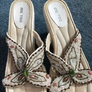 Me Too Shoes - Me Too White Bejeweled Sandals Women's Sz. 6M