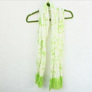 J. Crew Green White Tie Dye Summer Scarf