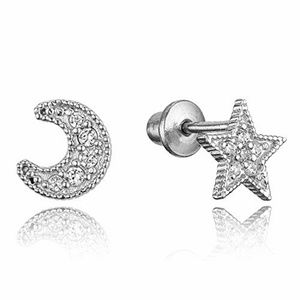 Other - 14k gold plated moon Star CZ Girls Earrings